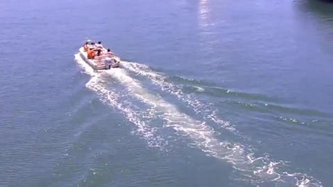 Family in a small boat heads out for a day of recreational boating fun Live Action
