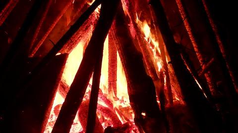 Large bonfire, timber crib Live Action