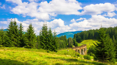 Summer Mountain Landscape with the Train Footage