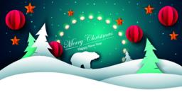 Merry christmas, happy new year - paper illustration Vector