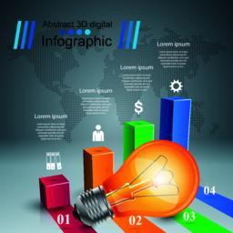 Infographic design. Bulb, Light icon Vector