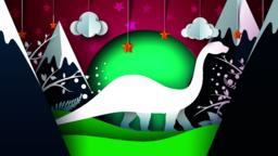 Dino, dinosaur illustration. Cartoon paper landscape Vector