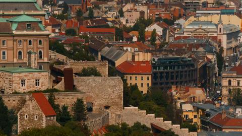 Buda Castle and Danube, Budapest, Hungary ビデオ