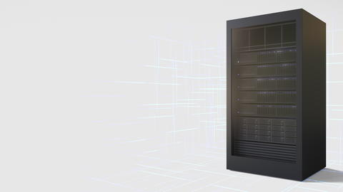 Server rack, 3D rendering Photo