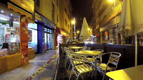 Outdoors Restaurant Metal Chairs At Night Footage