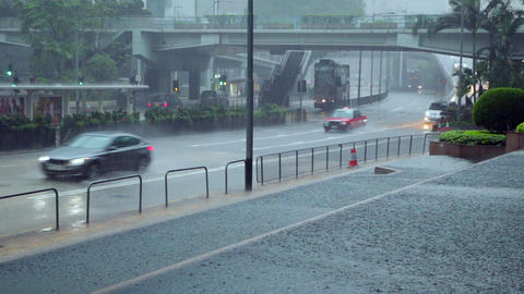 Downpour on the Streets of Hong Kong and Traffic Footage