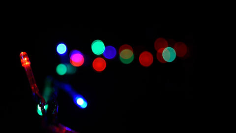 Christmas, New Year blinking LED lights, string, with alpha channel 05 GIF