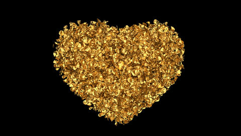 Golden Rose Flower Petals In Heart Shape Alpha Channel seamless Loop 4k Animation