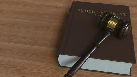 PUBLIC INTEREST LAW book and court gavel. 3D animation Live Action