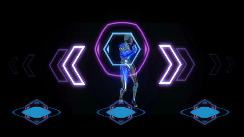 Robot with a plastic face dancing with virtual holographic interface. Future Animation