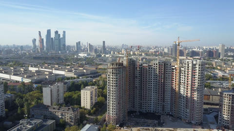 Construction of new high-rise building in Moscow. Aerial view 영상물