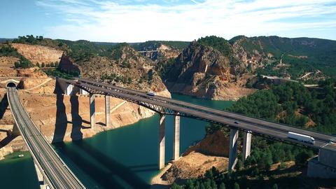 Aerial view of highway and railway bridges in Spain Footage