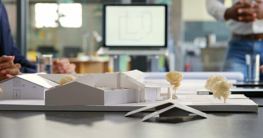 Architectural model on the table 4k Live Action