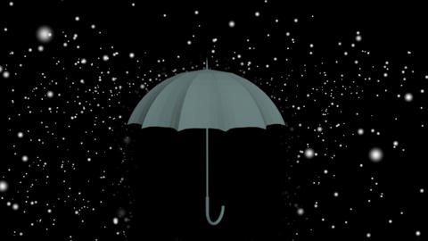 animation of red Umbrella under raindrops on black and white background Animation