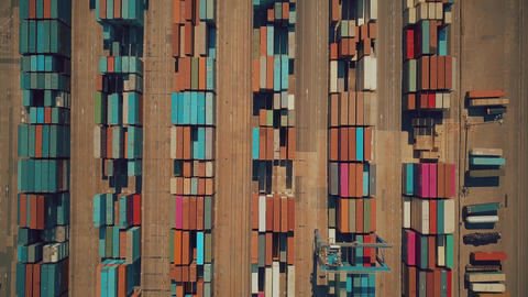 VALENCIA, SPAIN - OCTOBER 2, 2018. Aerial top-down view of big seaport container GIF