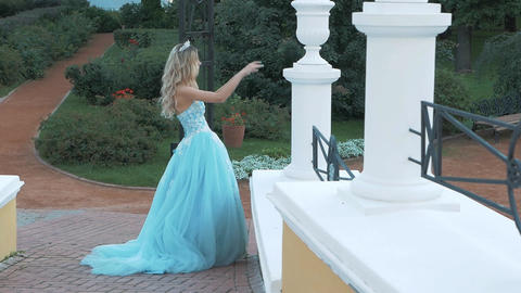 Girl in a puffy dress Footage