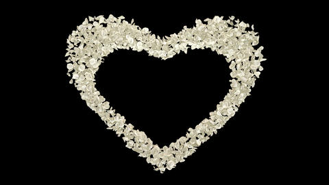 White Rose Flower Petals In Heart Shape Alpha Channel seamless Loop 4k Animation