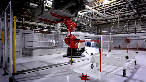 painting car parts of robots in automobile factory 2 Footage
