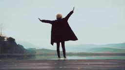 Woman dance near the lake ビデオ