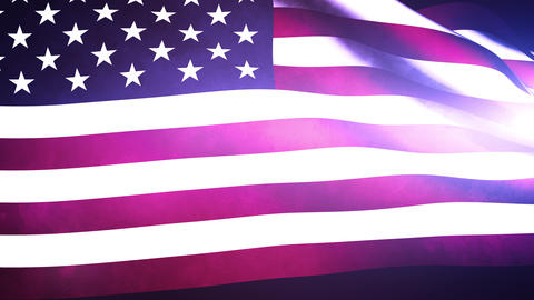 US Waving Flag in the Night Stock Video Footage