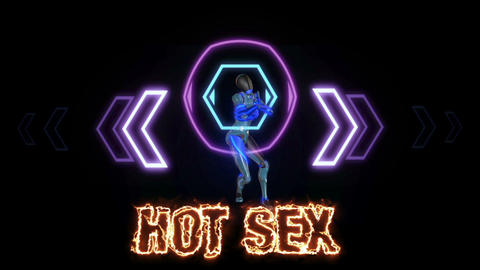 Text animation of the words HOT SEX burning on fire is on front of robot who Animation