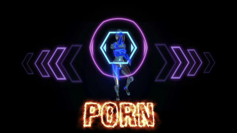 Text animation of the words PORNO burning on fire is on front of robot who dance Animation