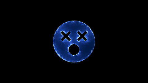 Symbol dizzy. Blue Electric Glow Storm. looped video. Alpha channel black Animation