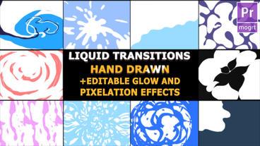 Hand Drawn Liquid Transitions モーショングラフィックステンプレート