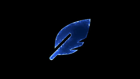 Symbol sharp feather. Blue Electric Glow Storm. looped video. Alpha channel Animation