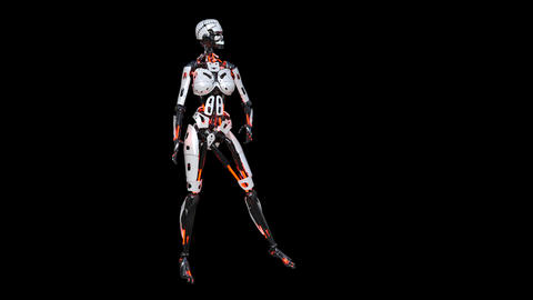 female robot Is posing, alpha channel, animation Footage