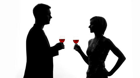 Man shadow toasting with wine glass, lovers clinking celebrating anniversary Live Action