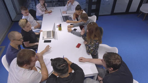 A team of young creative people found a way to solve the… Stock Video Footage