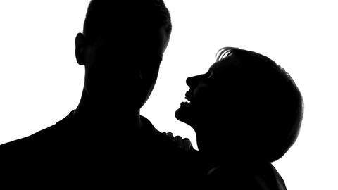Flirting woman whispering love words boyfriend ear, tender behaviour, intimacy Live Action