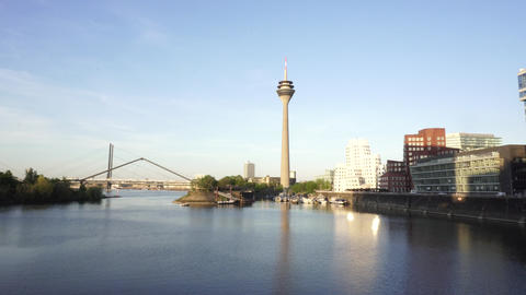 Rheinturm Rhine Tower, Dusseldorf, Germany Footage