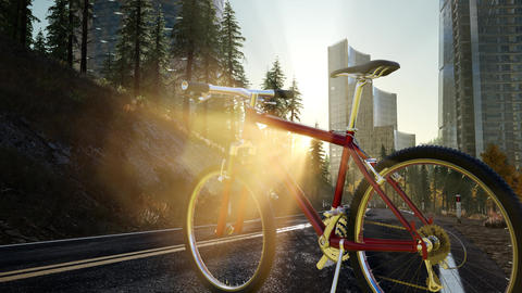 City bicycle on the road at sunset Footage