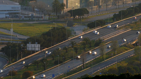 Traffic scene and road at sunset.Time Lapse Road traffic of entry and exit of Footage