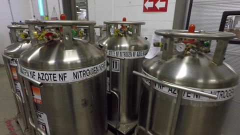 Liquid nitrogen containers Footage