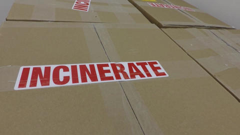 Biohazard medical waste for incineration Footage