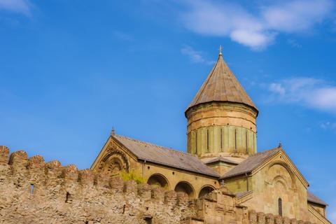 View of the monastery Svetitskhoveli in Georgia, Mtskheta フォト