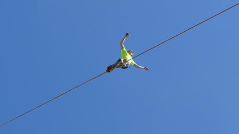 Tightrope Walker Goes on a Rope Footage