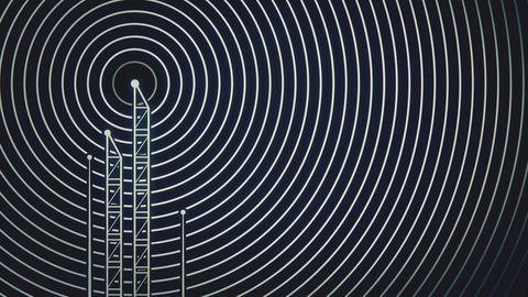 Antenna towers with radiowave signal animation Animation