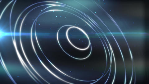 Abstract blue lighting flow rings with glow and lens flare Animation