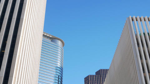 tilt up to Houston downtown buildings Footage