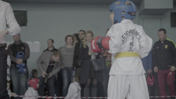 Taekwondo competitions among children . Children's sports Footage