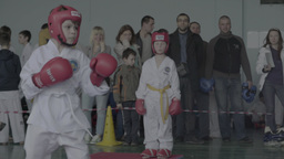 Taekwondo competitions among children. Children's sports Footage
