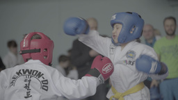 Children participate in Taekwondo competitions. Sparring Footage