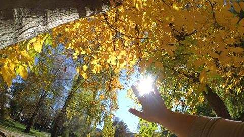 Slow motion POV of hand of man who moves it in air,... Stock Video Footage