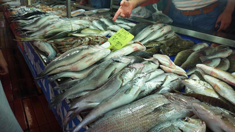 The seller offers fresh seafood Footage
