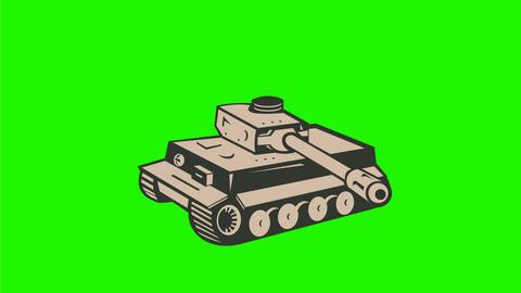 World War Two German Panzer Tank Firing 2D Animation Animation