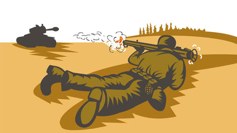 World War Two Soldier Firing Bazooka at Battle Tank 2D Animation Animation